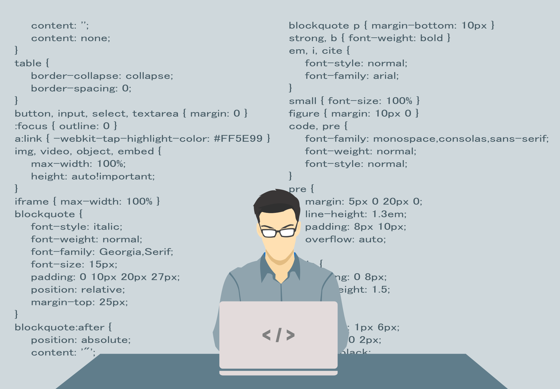 illustration of a man with computer and codes in the background